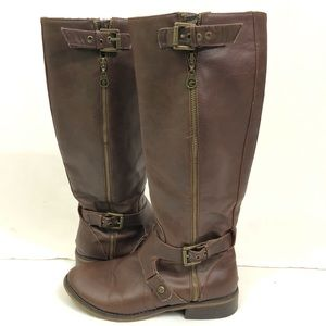 GUESS | Brown leather tall riding boots 8.5